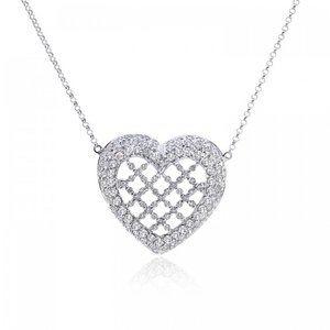 2.15 Carat Diamond Filigree Heart Necklace 18K